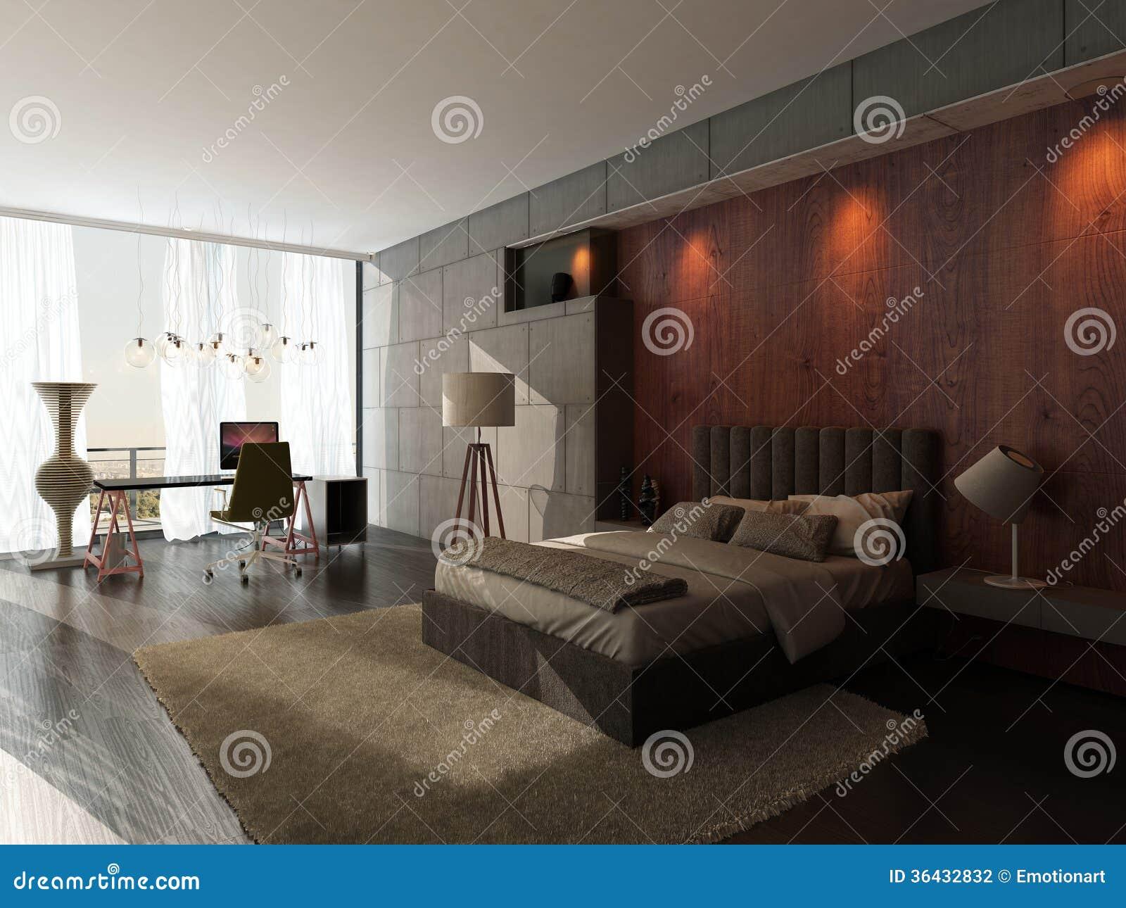 ... camera da letto di progettazione moderna con la parete di legno e di