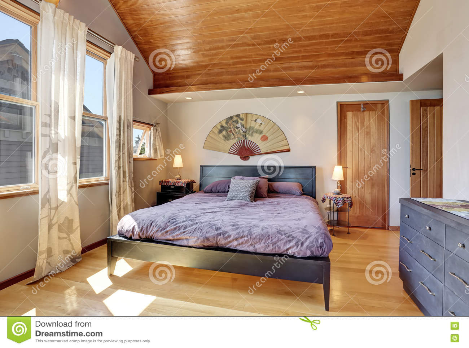 Camera Da Letto Giapponese interno della camera da letto nello stile giapponese con il