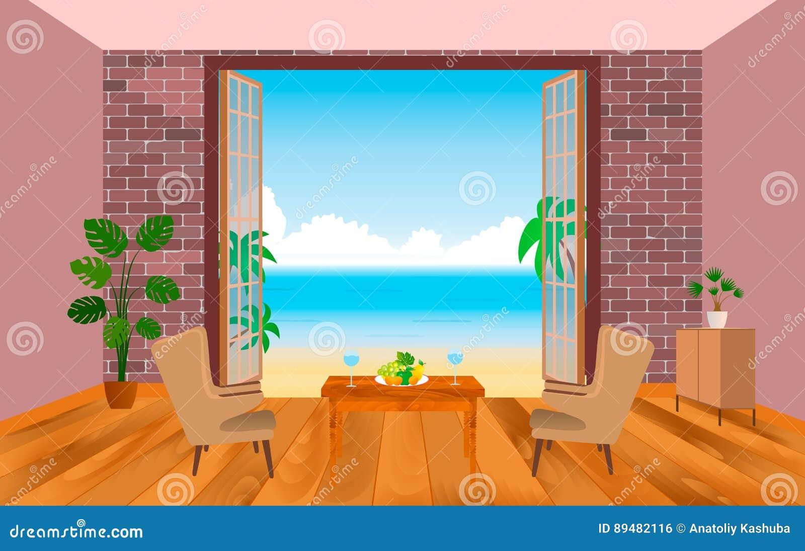 Interno della camera di albergo della località di soggiorno con le poltrone, la tavola e lo sbocco al mare