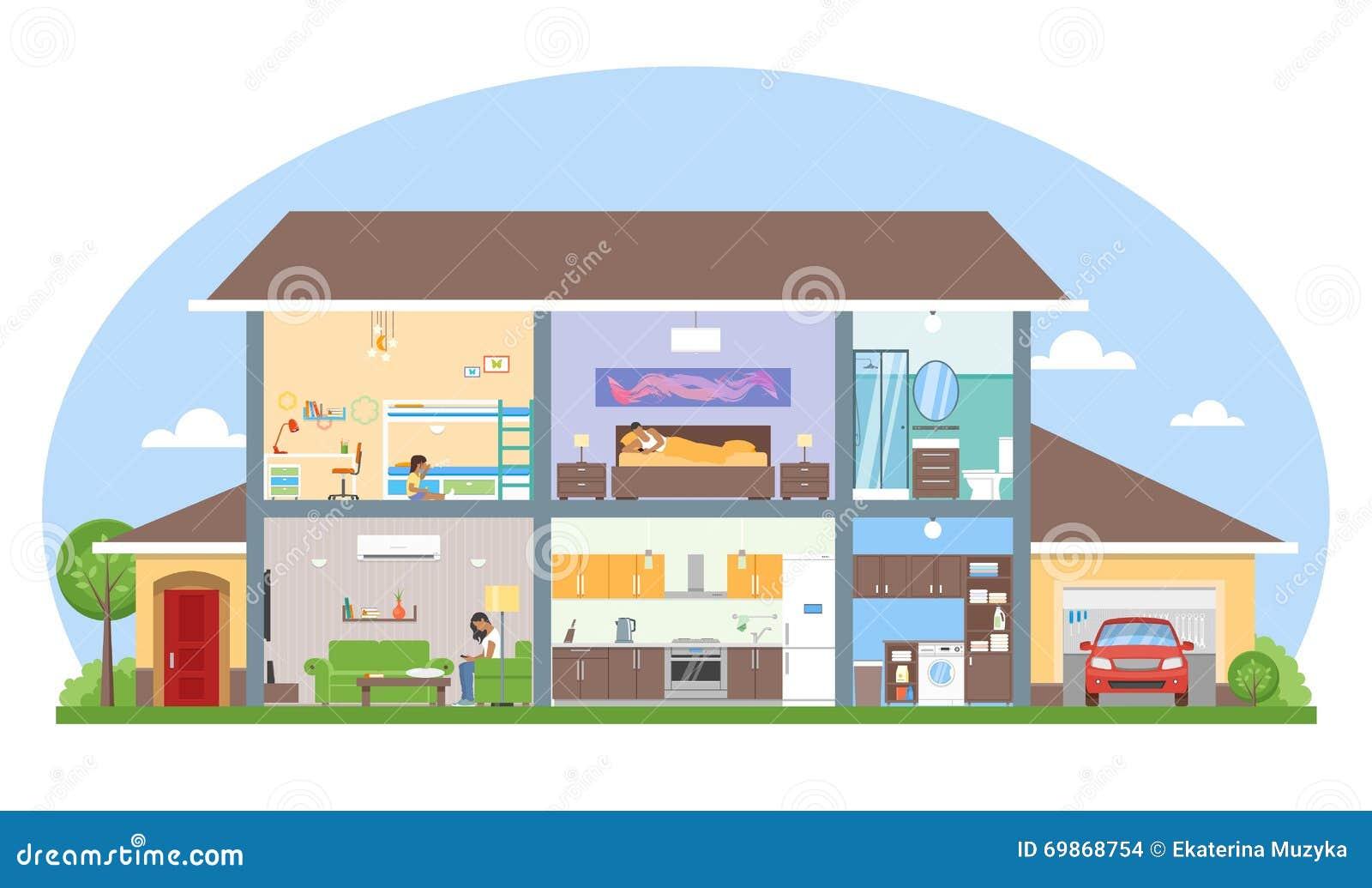 Interno della casa con l 39 illustrazione di vettore della for Piccolo piano di pagamento della casa