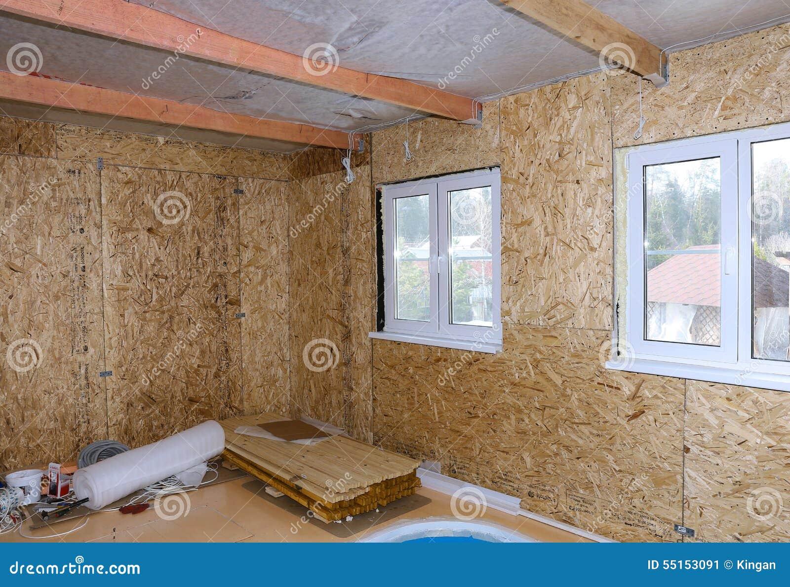Interno della casa di legno in costruzione immagine stock immagine 55153091 - Interno case in legno ...