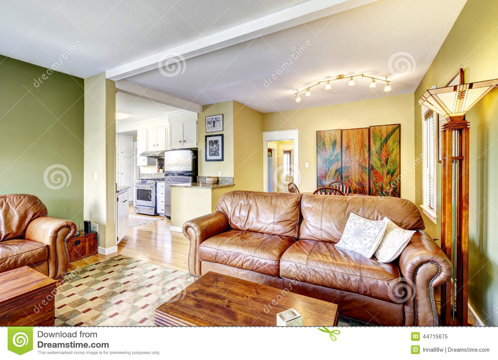 Interno della casa nel colore giallo e verde immagine for Design della casa verde