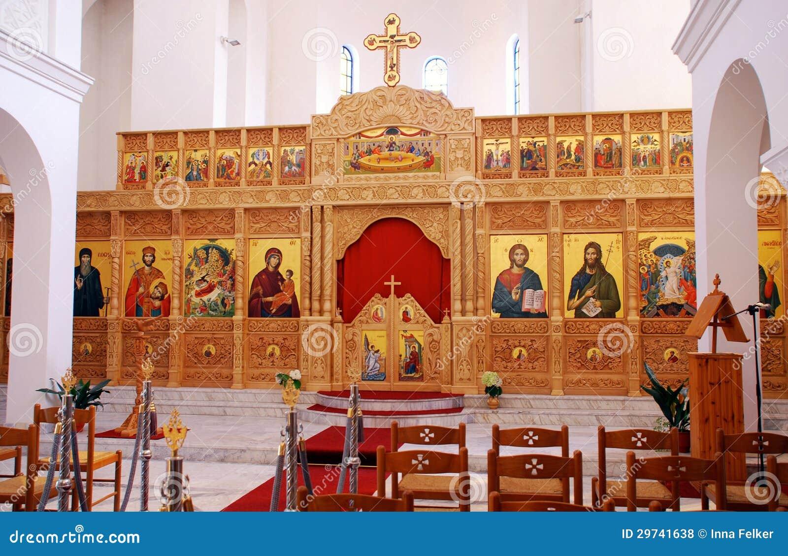 Interno della chiesa ortodossa fotografia stock for Interno chiesa