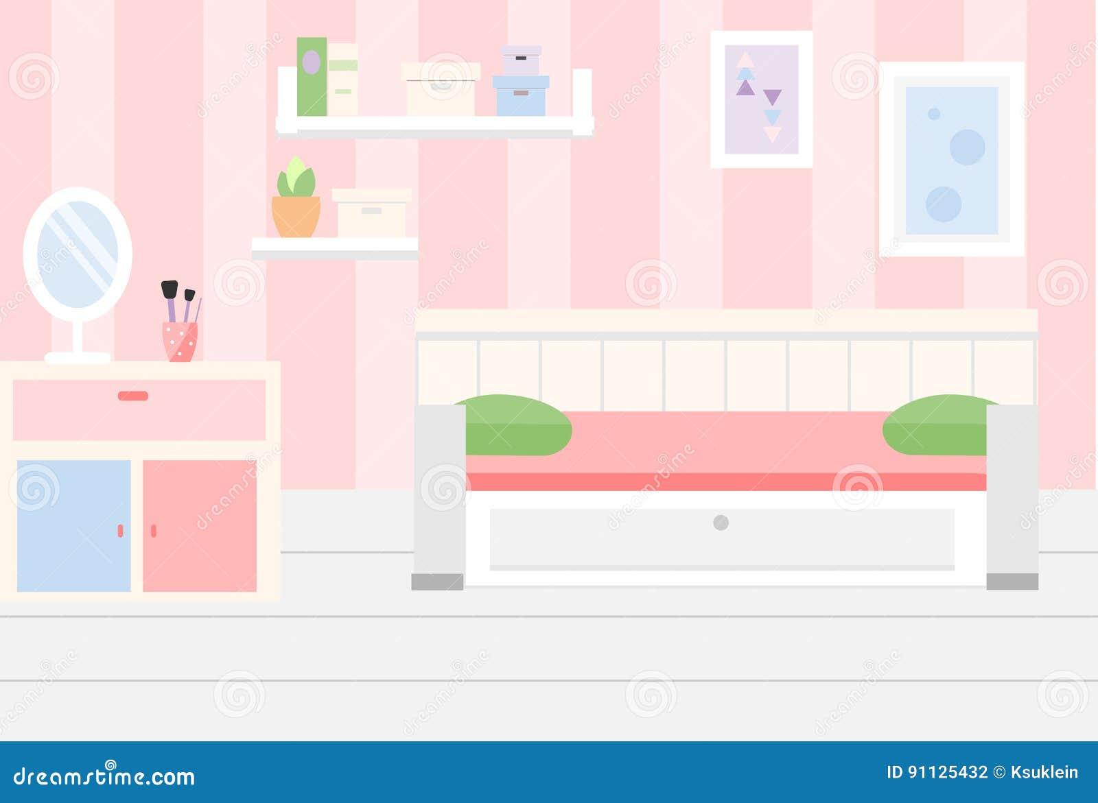 Interno Della Stanza Appartamento In Mobilia Bianca Rosa E Di Colore ...