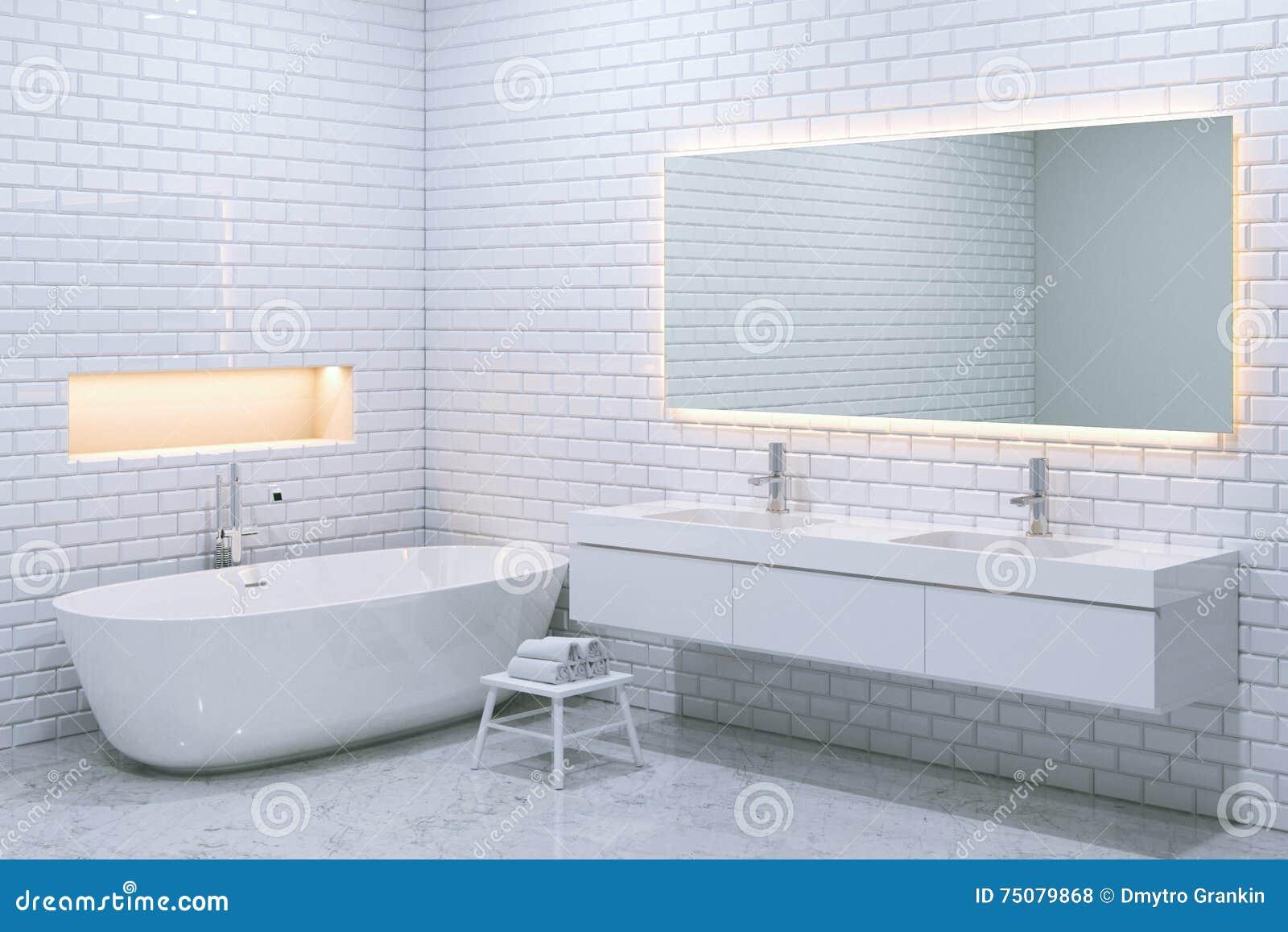 interno di lusso bianco del bagno con i mura di mattoni 3d rendono