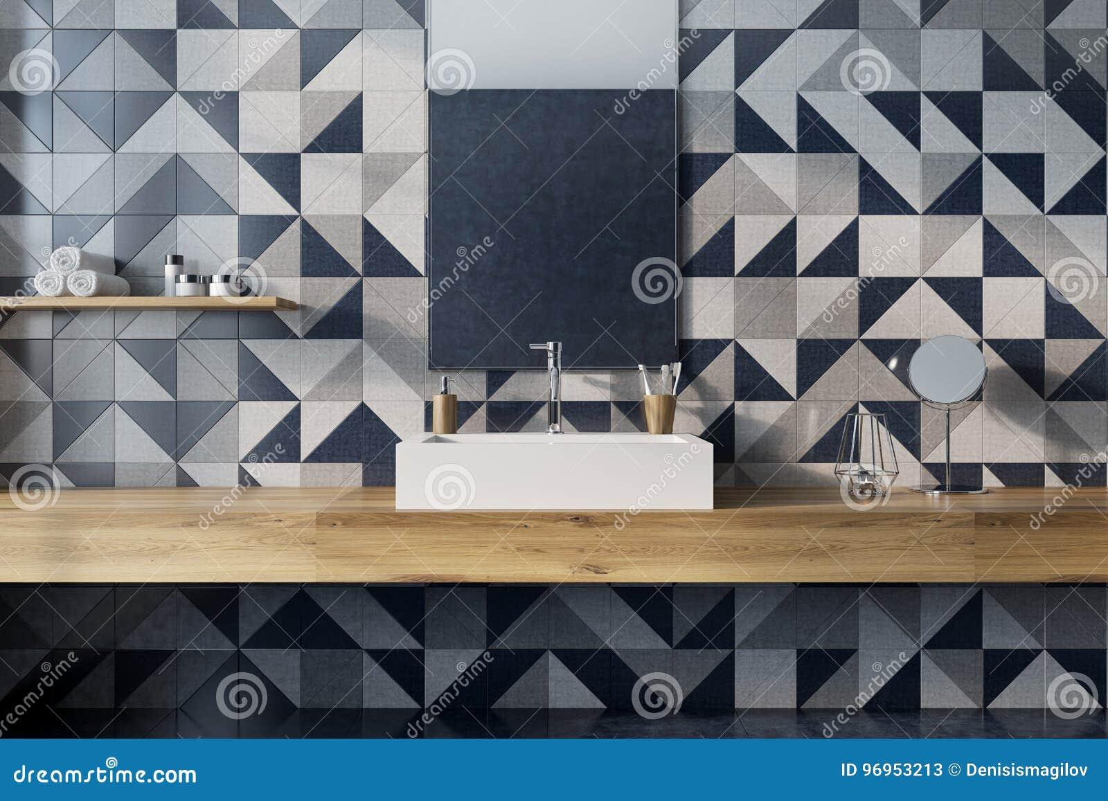 Bagno Legno E Mosaico : Interno di lusso del bagno parete del mosaico legno