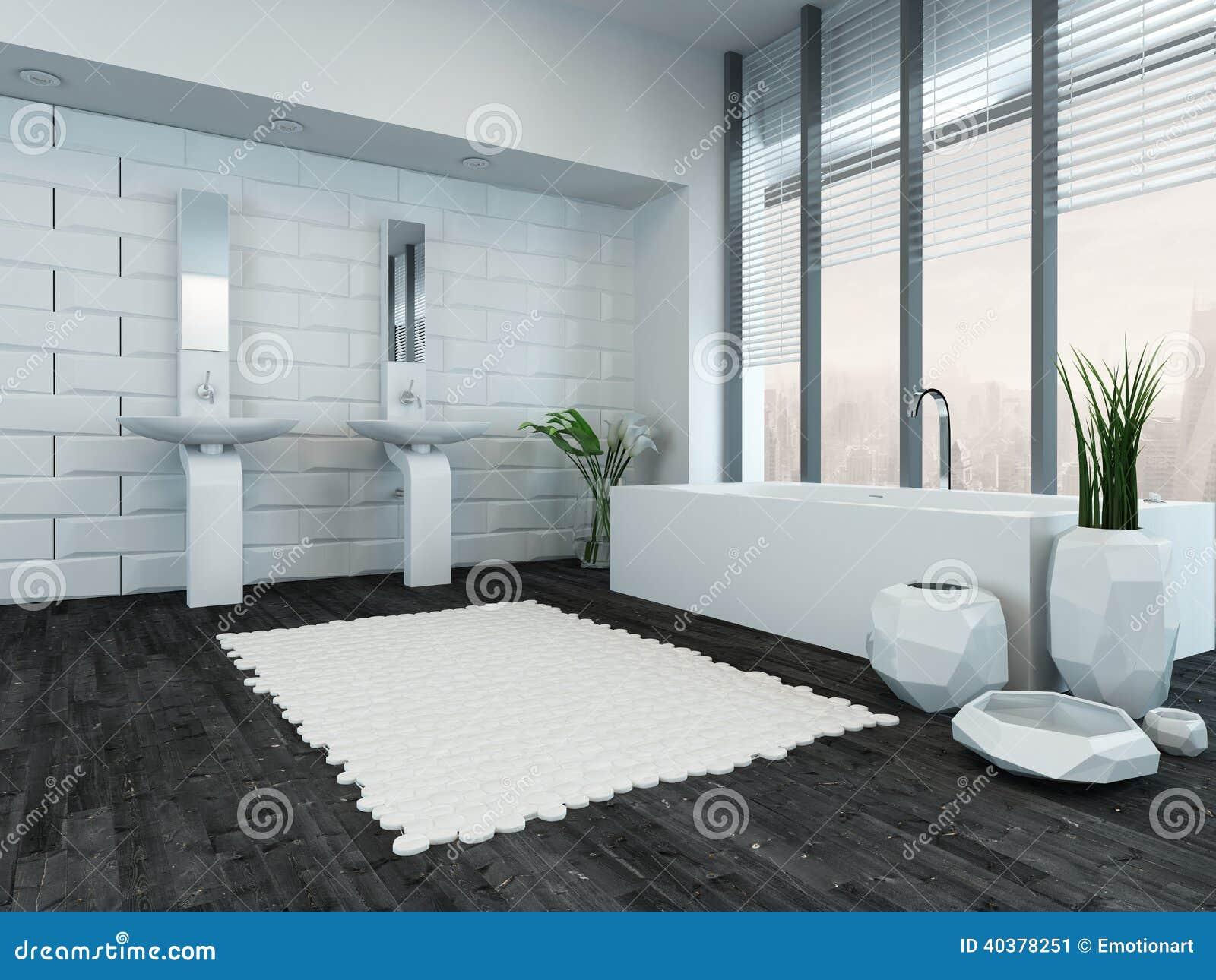 interno di lusso moderno del bagno con la vasca fotografia stock ... - Bagni Con Vasca Moderni