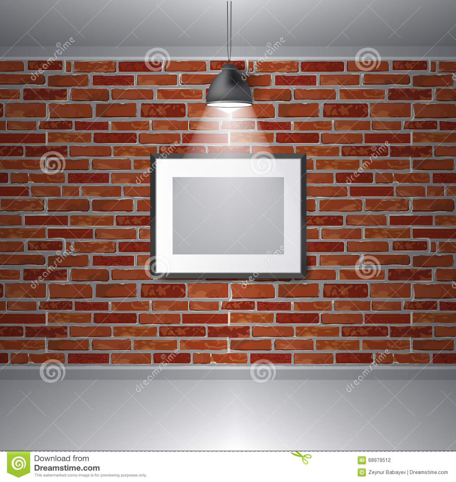 Interno di mostra della galleria di vettore Cornici sul muro di mattoni