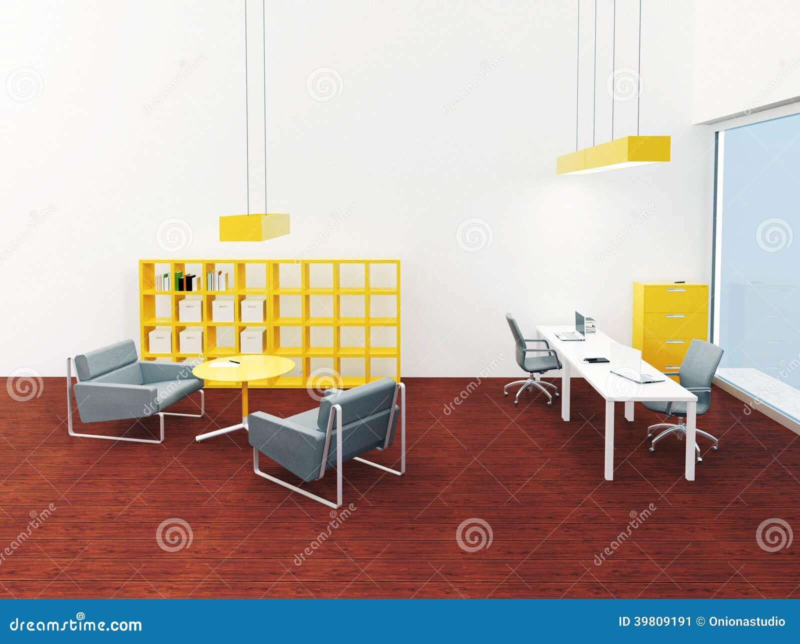Piccolo Ufficio Moderno : Interno di piccolo ufficio moderno luminoso illustrazione di stock