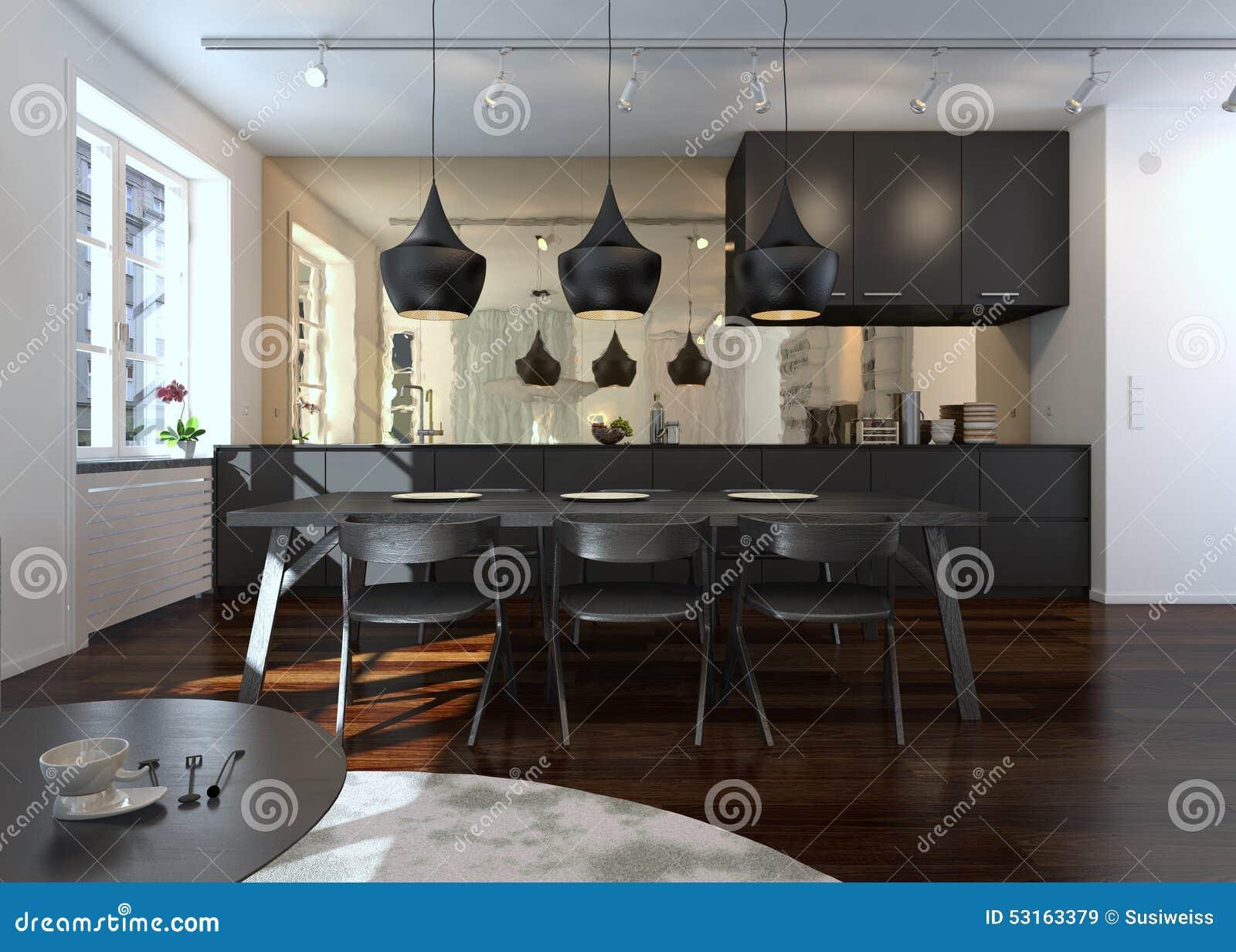 Interno di sala da pranzo e della cucina moderne for Cucina con sala da pranzo