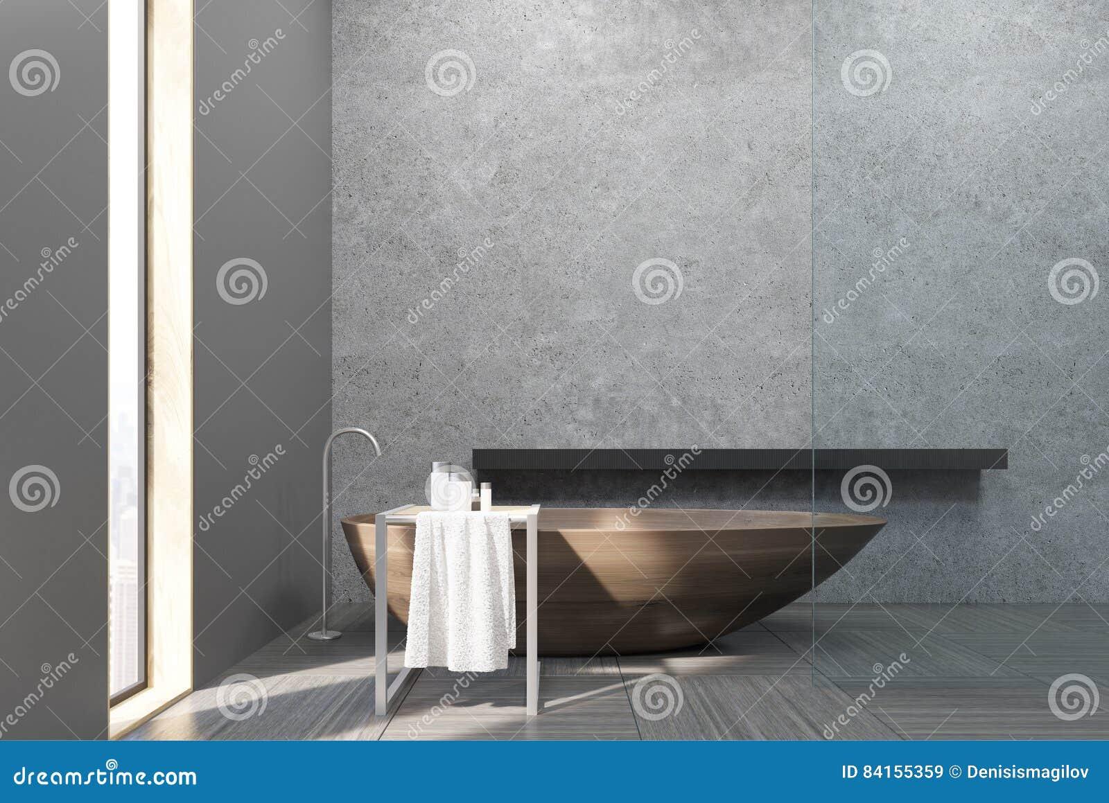 Vasca Da Bagno Stretta : Interno di un bagno con una finestra stretta una vasca di legno i