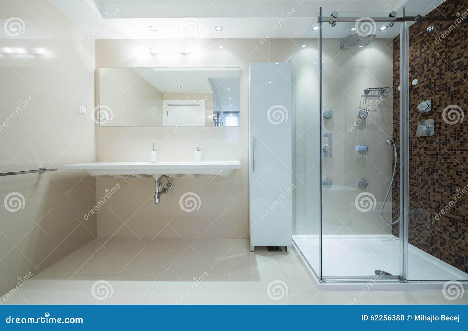 Interno di un bagno moderno con la cabina della doccia for Design moderno della cabina