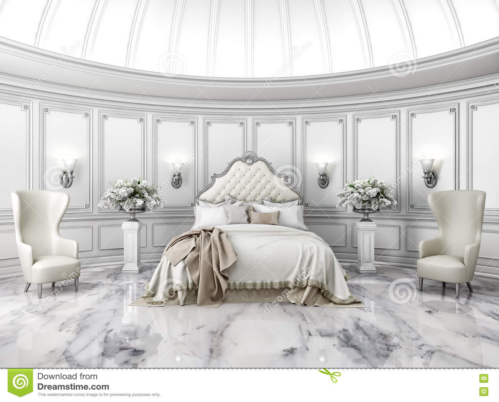Interno di una camera da letto rotonda di stile classico illustrazione di stock illustrazione - Camera da letto stile classico ...