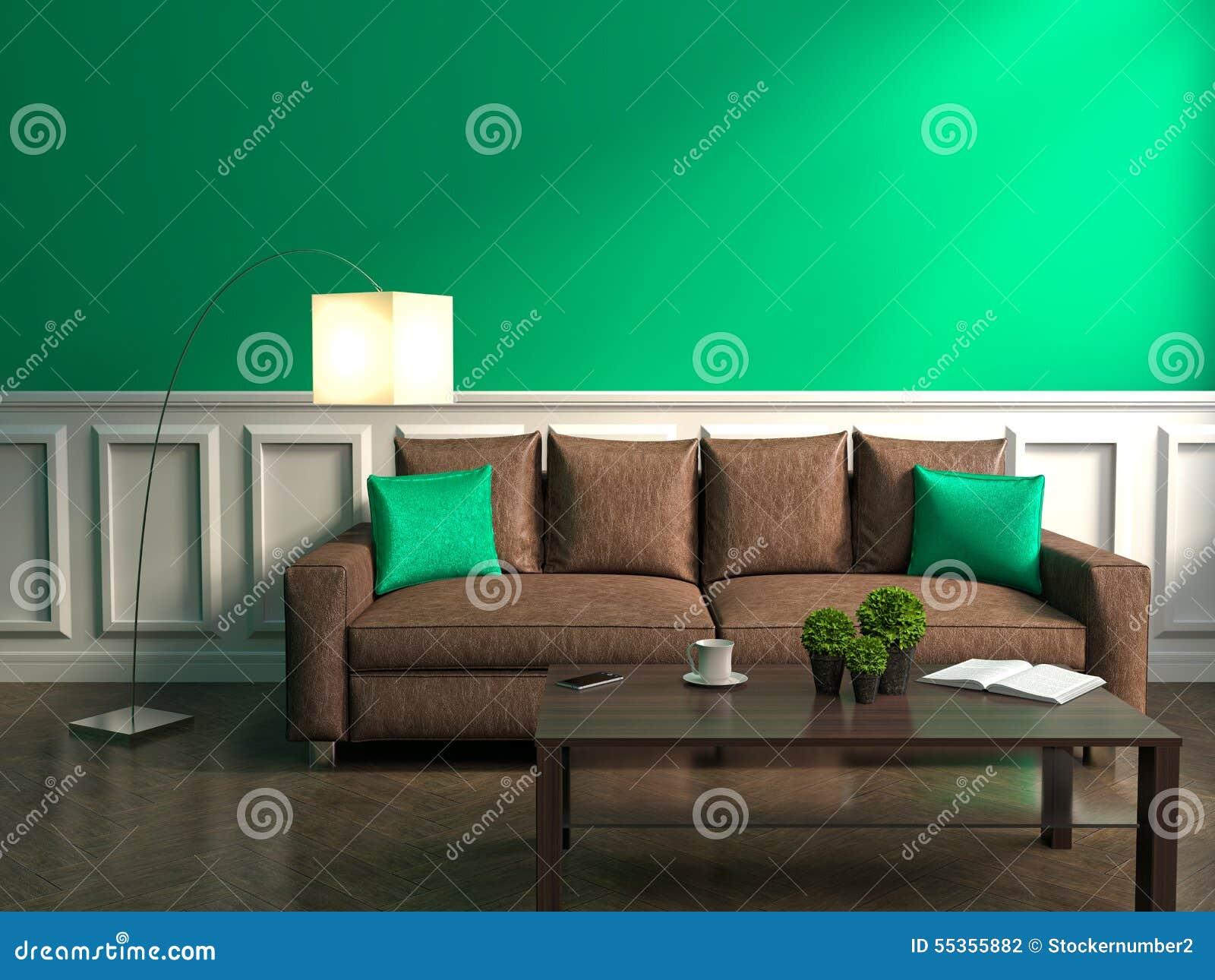 Interno di verde con il sofà, la lampada e la tavola