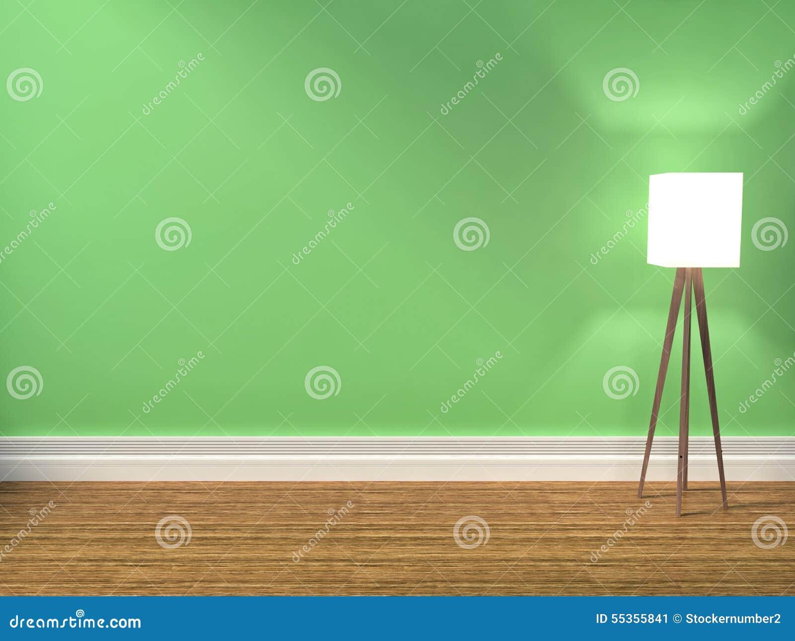 Interno di verde con la lampada iilustration 3d