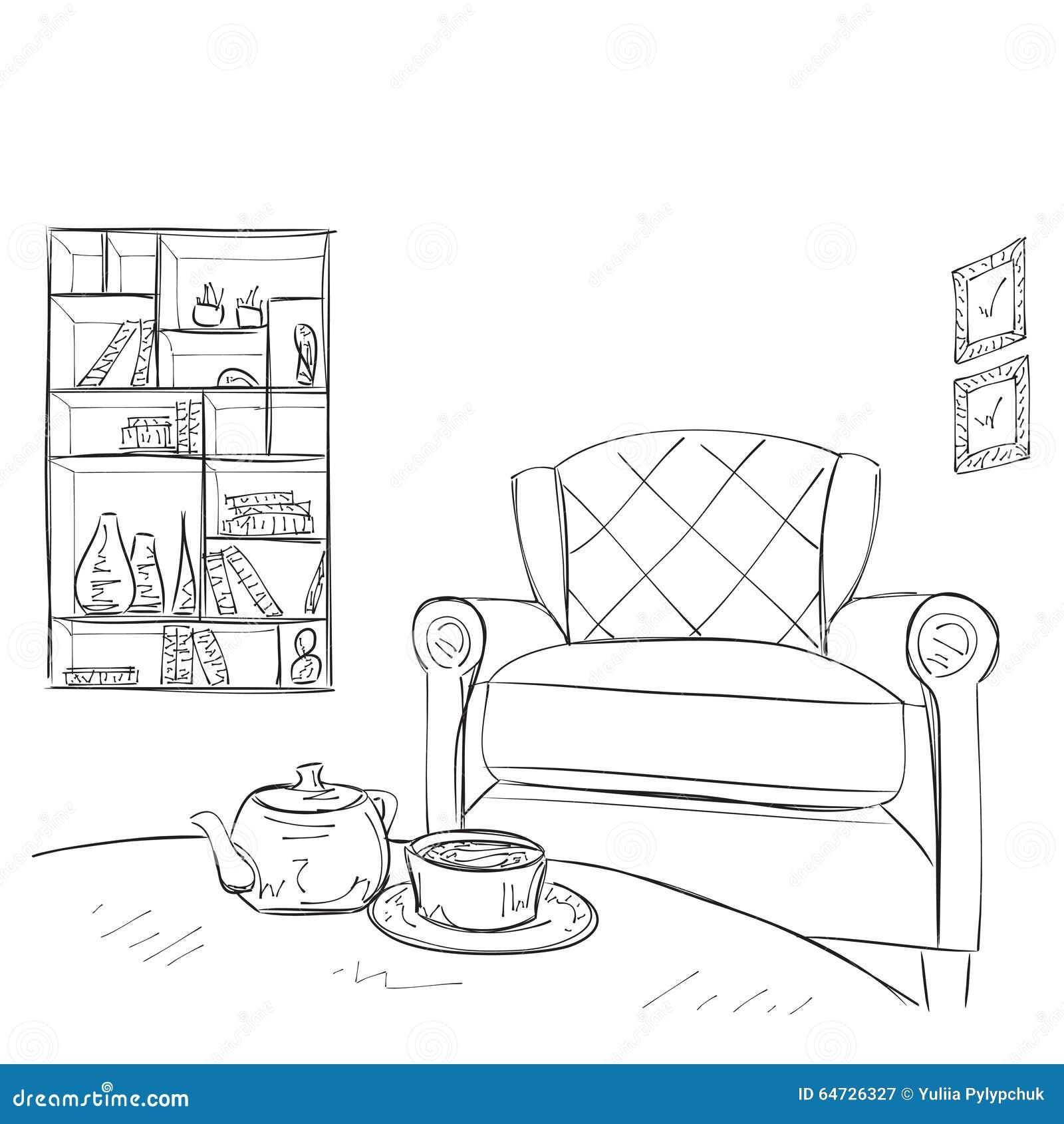 Interno disegnato a mano della stanza