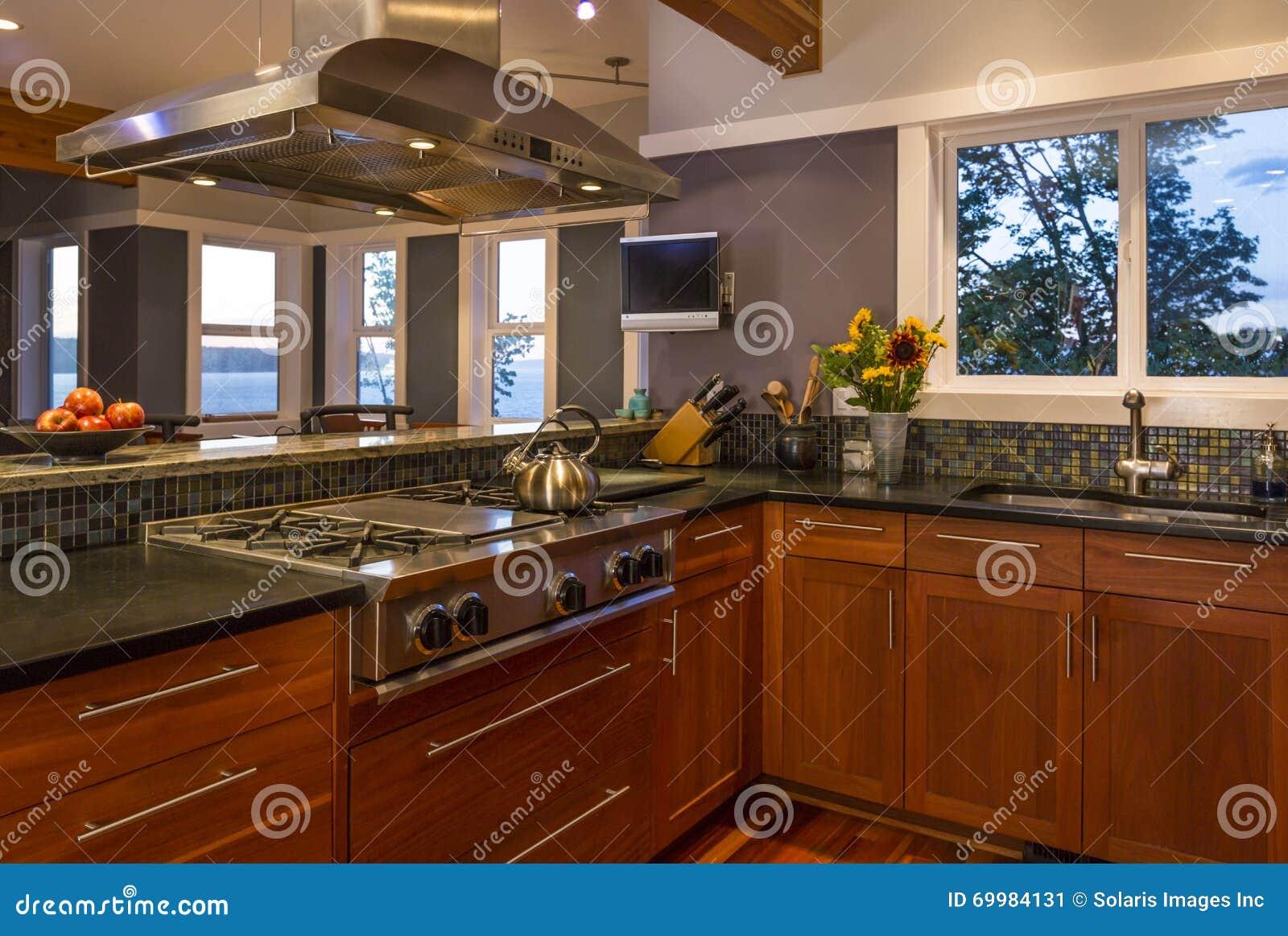 Interno domestico dell alta società contemporaneo della cucina con i gabinetti, la stufa di gas, il cappuccio dello sfiato e le f