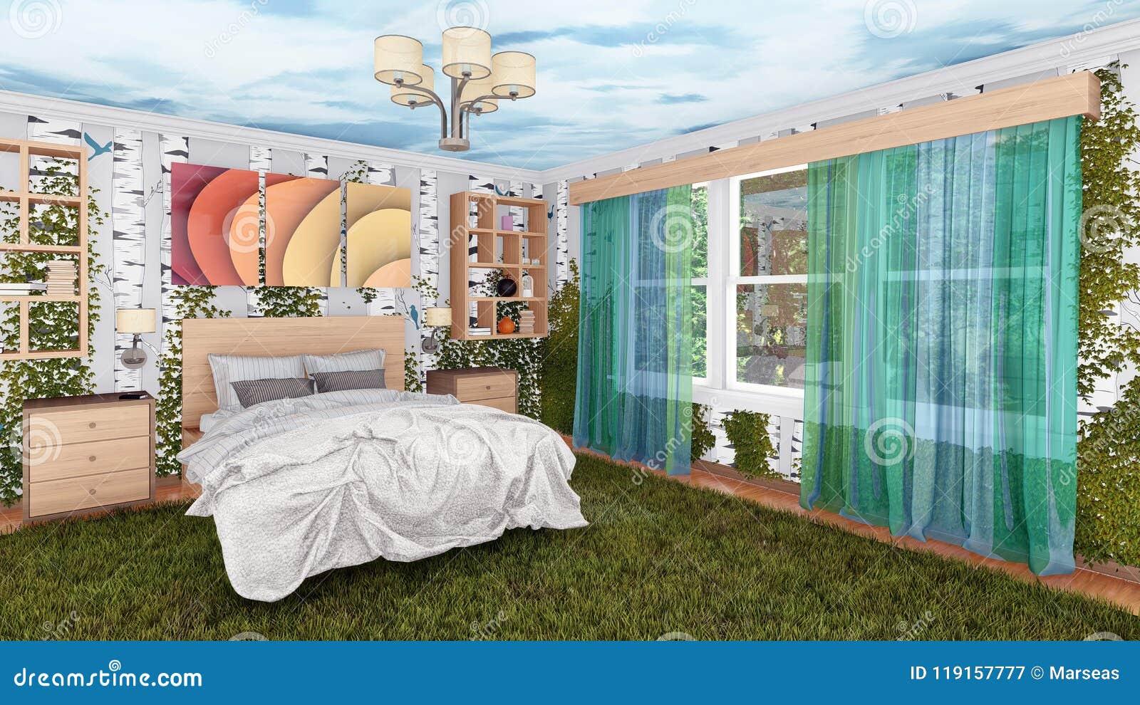 Pianta Camera Da Letto Matrimoniale : Interno ecologico della camera da letto con le piante verdi