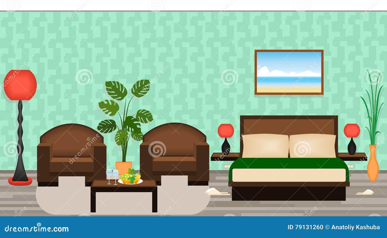 Interno elegante della camera di albergo con mobilia lampade