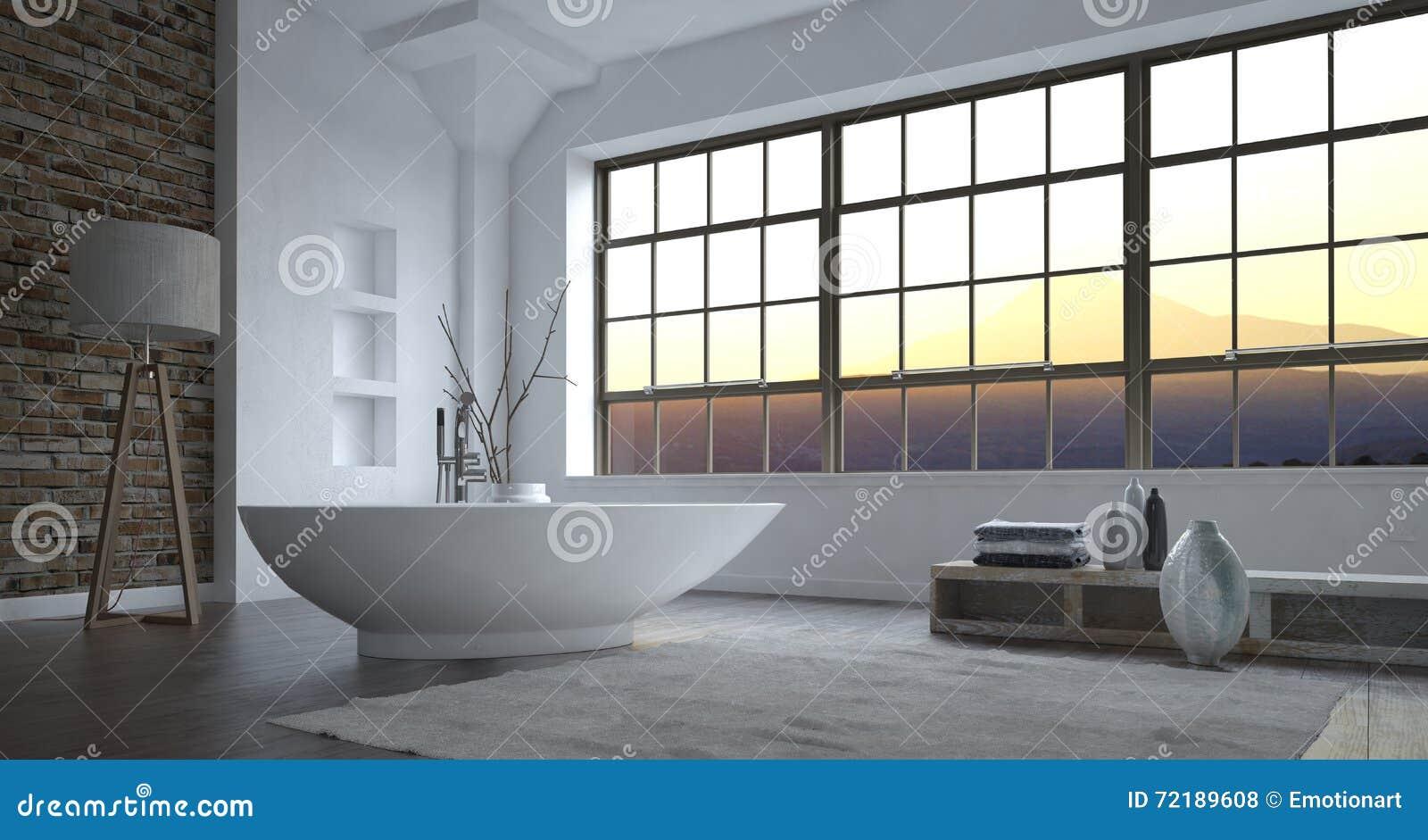 Interno grigio e bianco di lusso moderno del bagno - Bagno grigio e bianco ...