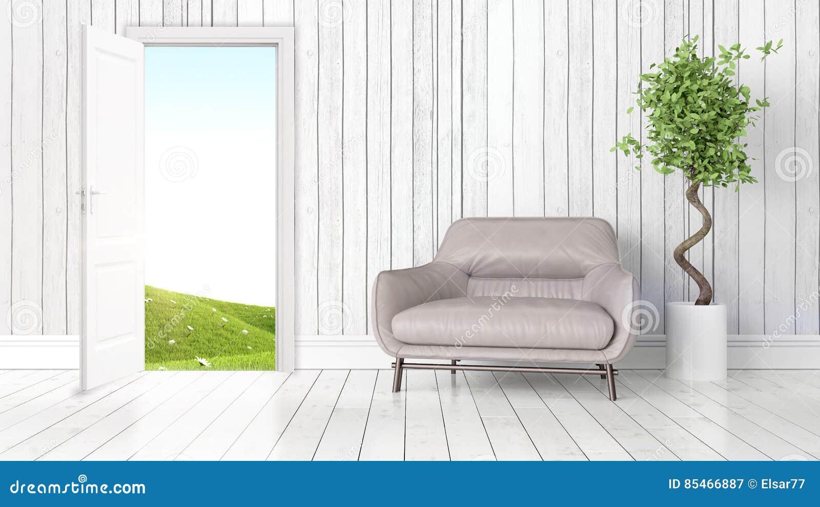 Interno luminoso moderno con la porta aperta for Interno moderno