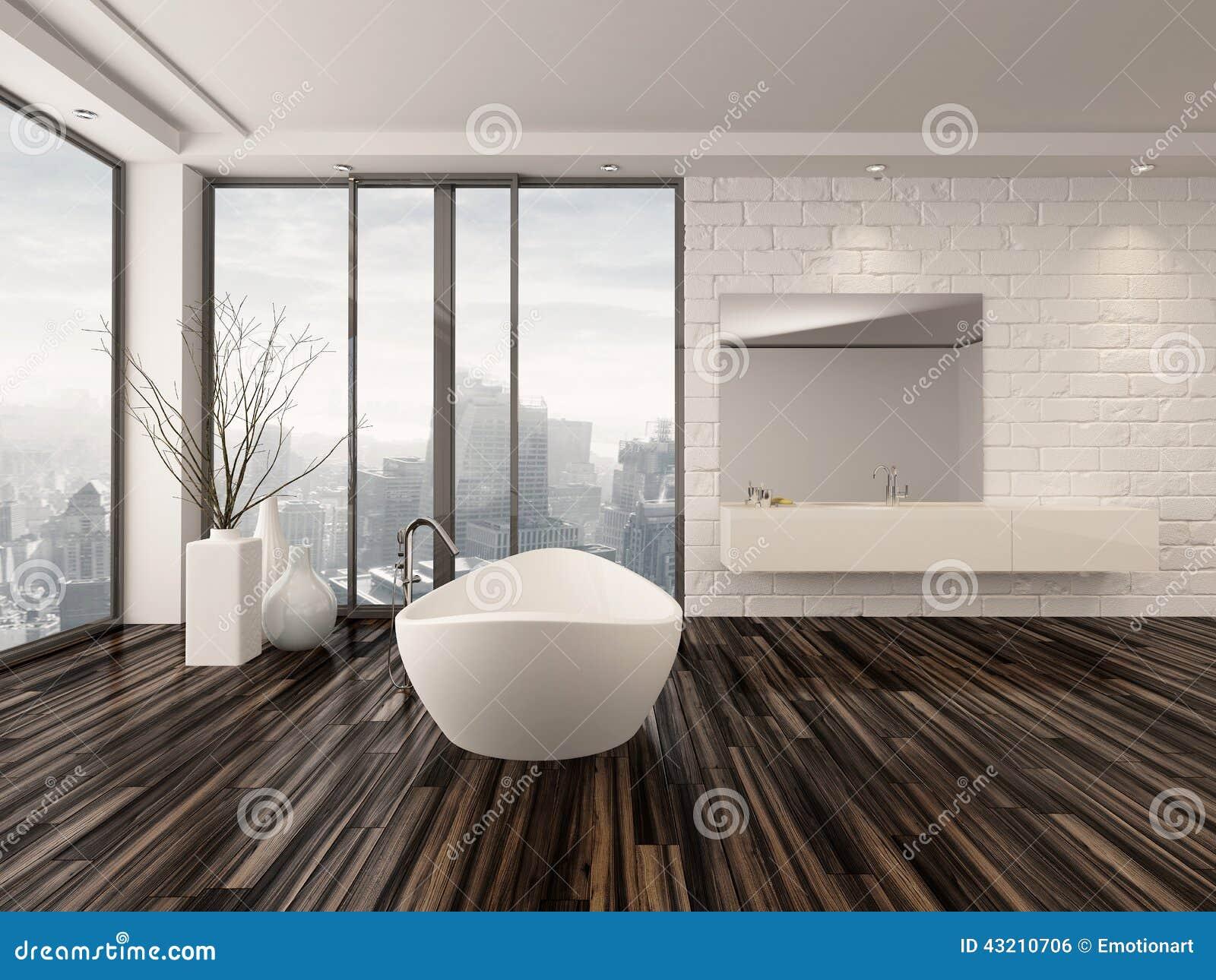 Interno minimalista bianco moderno del bagno illustrazione for Foto minimalista