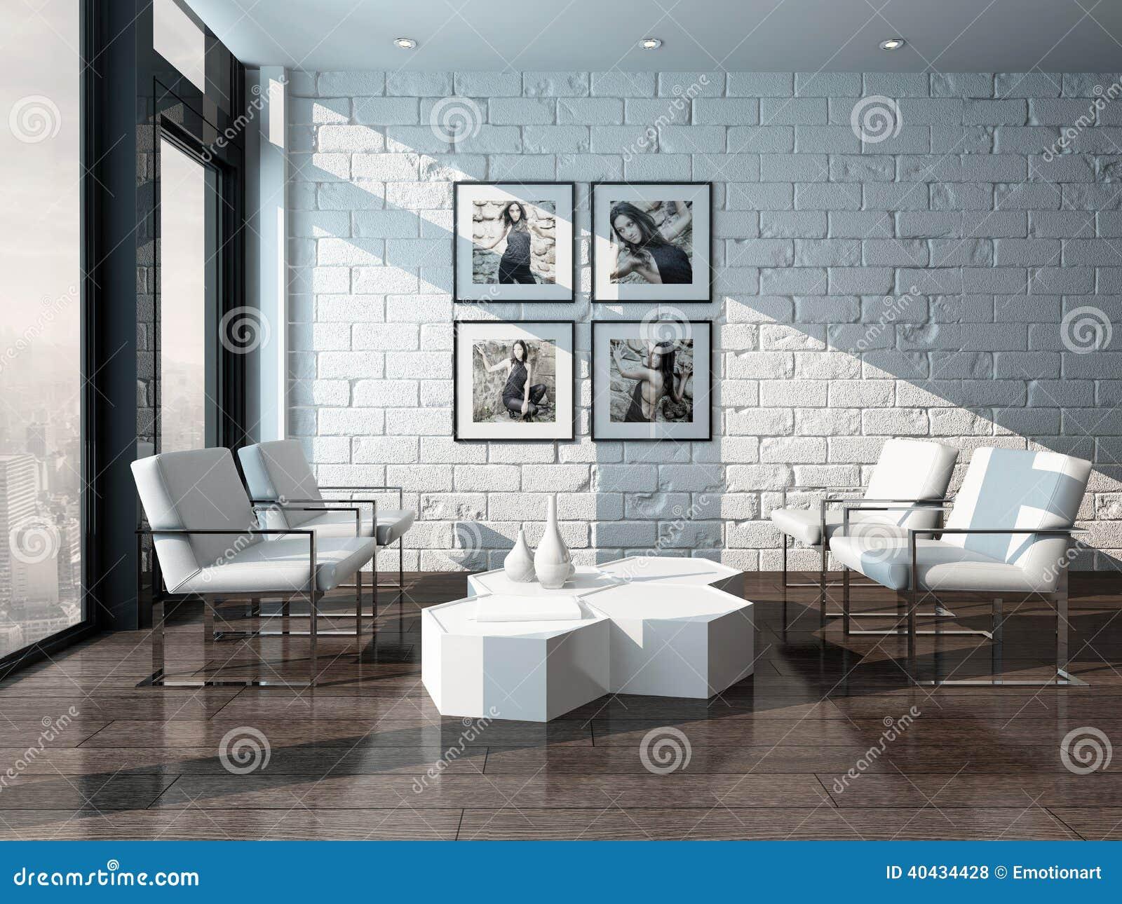 Interno minimalista del salone con il muro di mattoni illustrazione di stock illustrazione di - Mattoni per interni casa ...