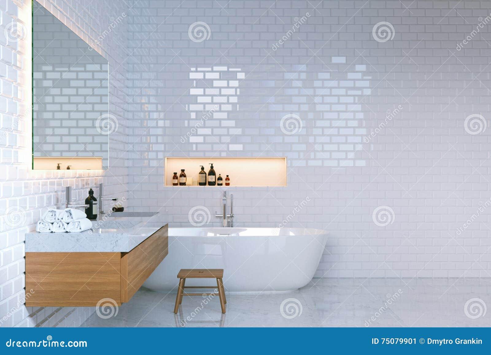 interno minimalista di lusso del bagno con i mura di mattoni 3d rendono