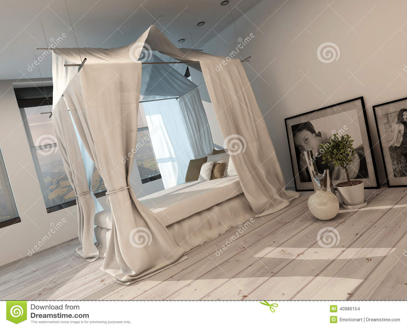 Interno moderno alla moda della camera da letto con un - Camera da letto con baldacchino ...