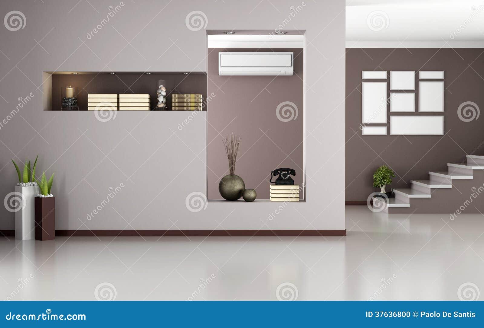 Interno moderno beige e marrone illustrazione di stock for Interno moderno