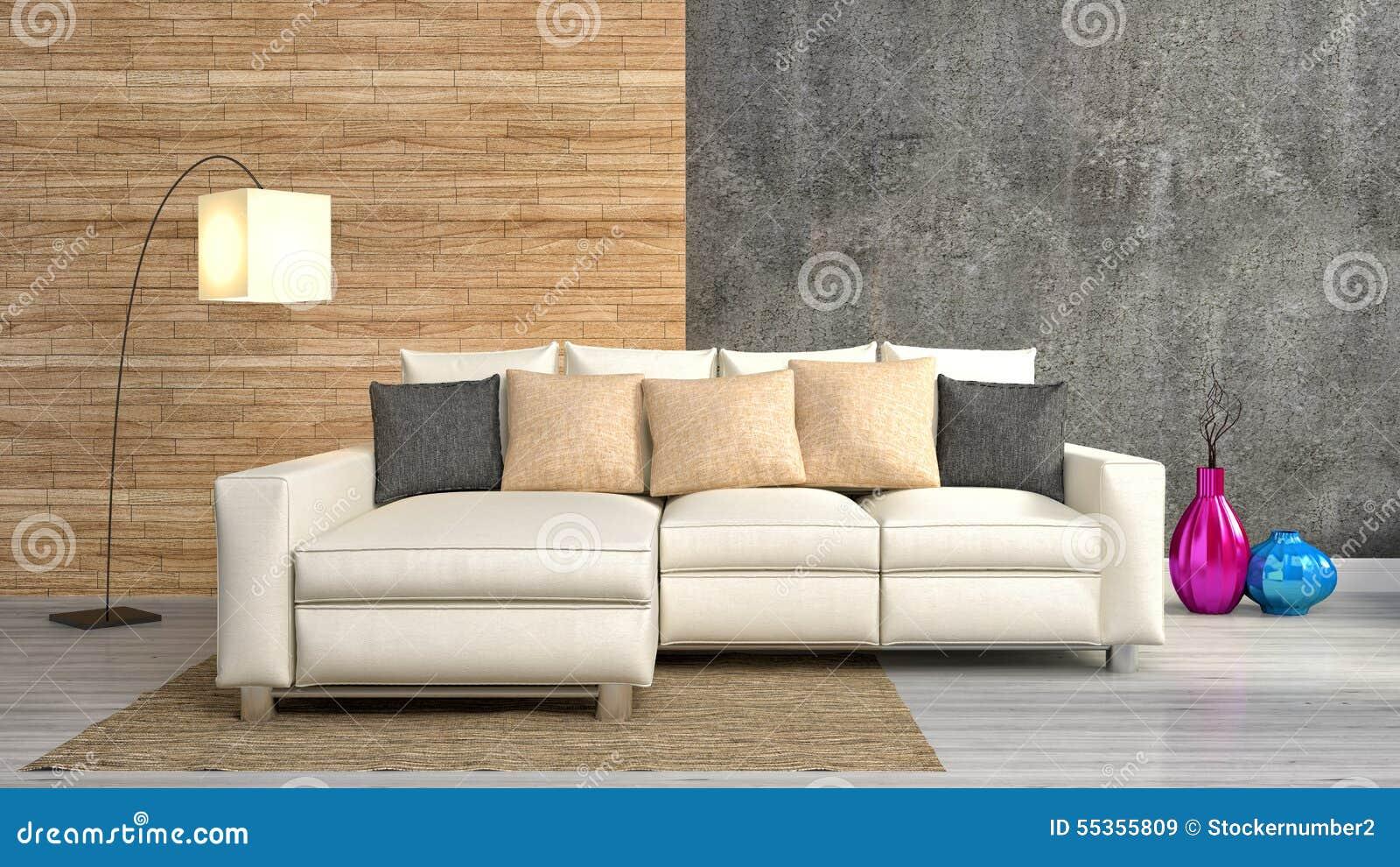 Interno moderno con mobilia illustrazione 3D