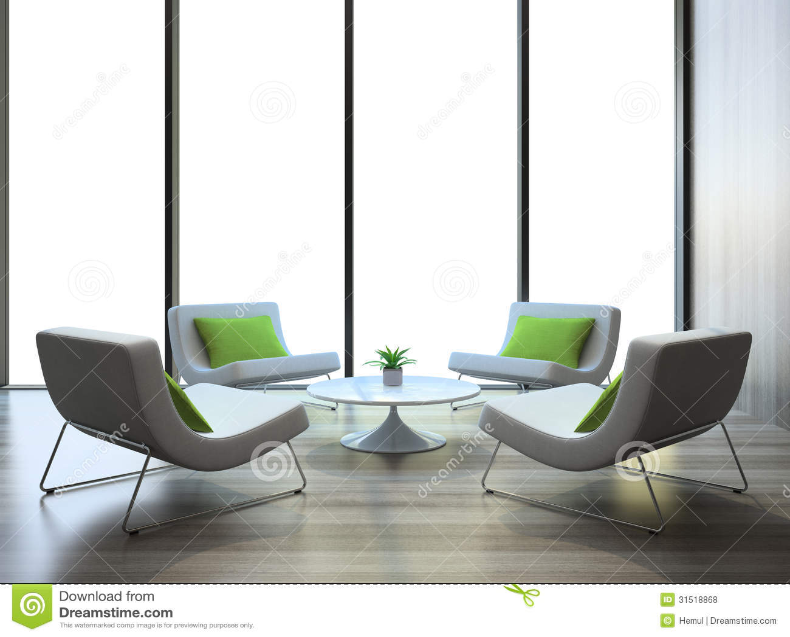 Interno moderno con quattro poltrone e tavole del coffe for Tavole moderne