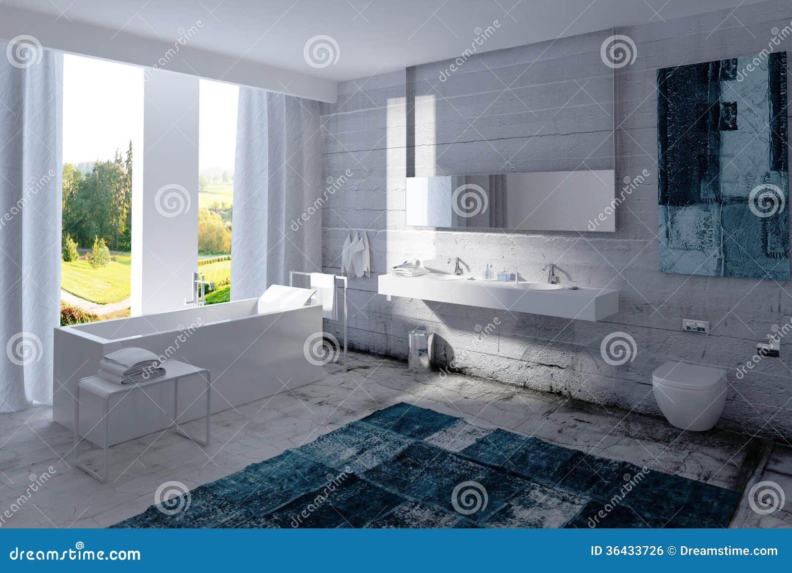 Interno Moderno Del Bagno Con Il Muro Di Cemento Immagine ...