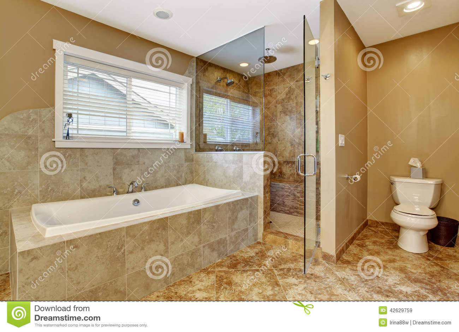 Interno moderno del bagno con la doccia di vetro della - Cabine doccia in muratura ...