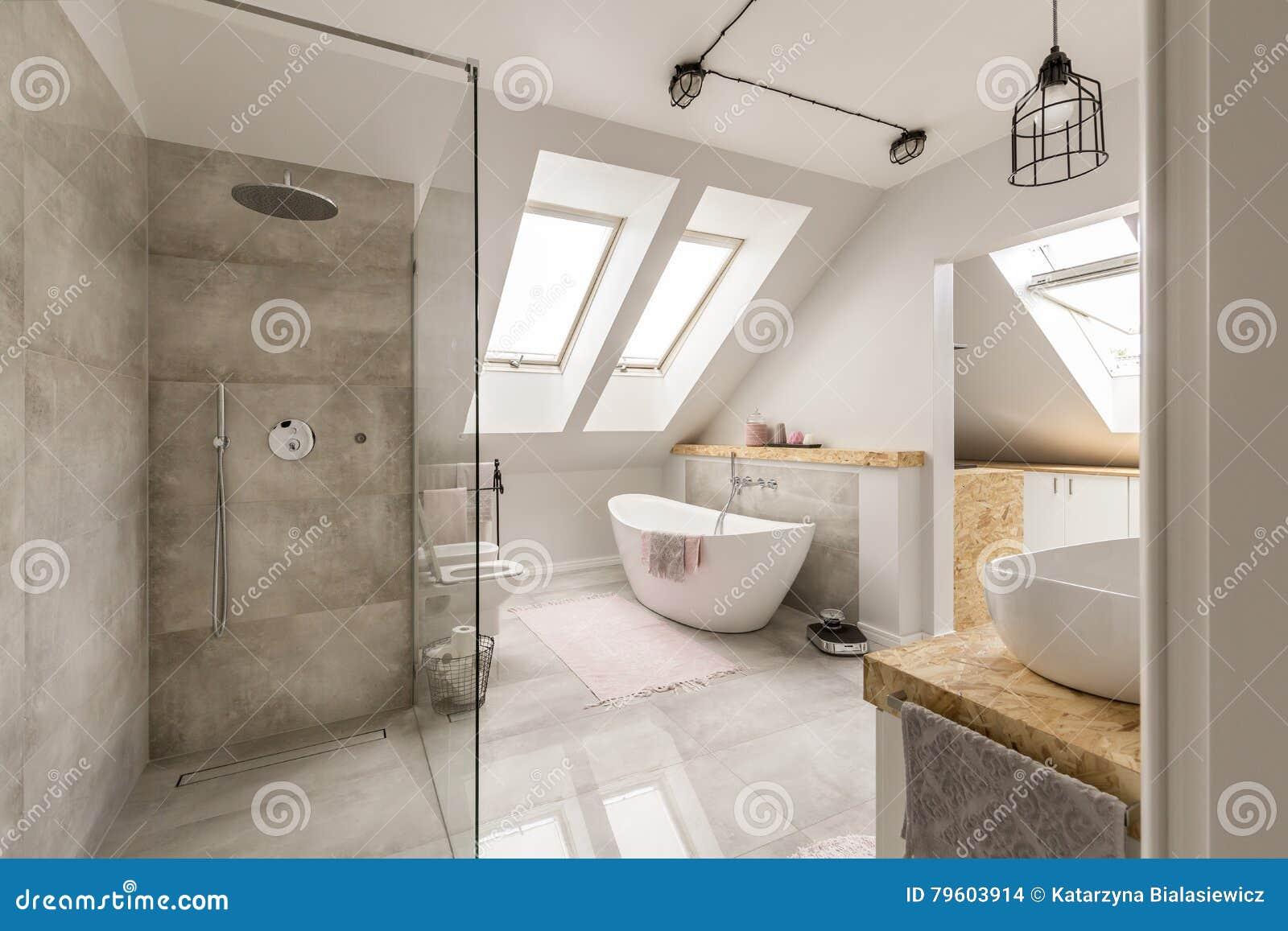 Interno Moderno Del Bagno Con La Doccia Minimalistic Fotografia Stock - Immagine di ...