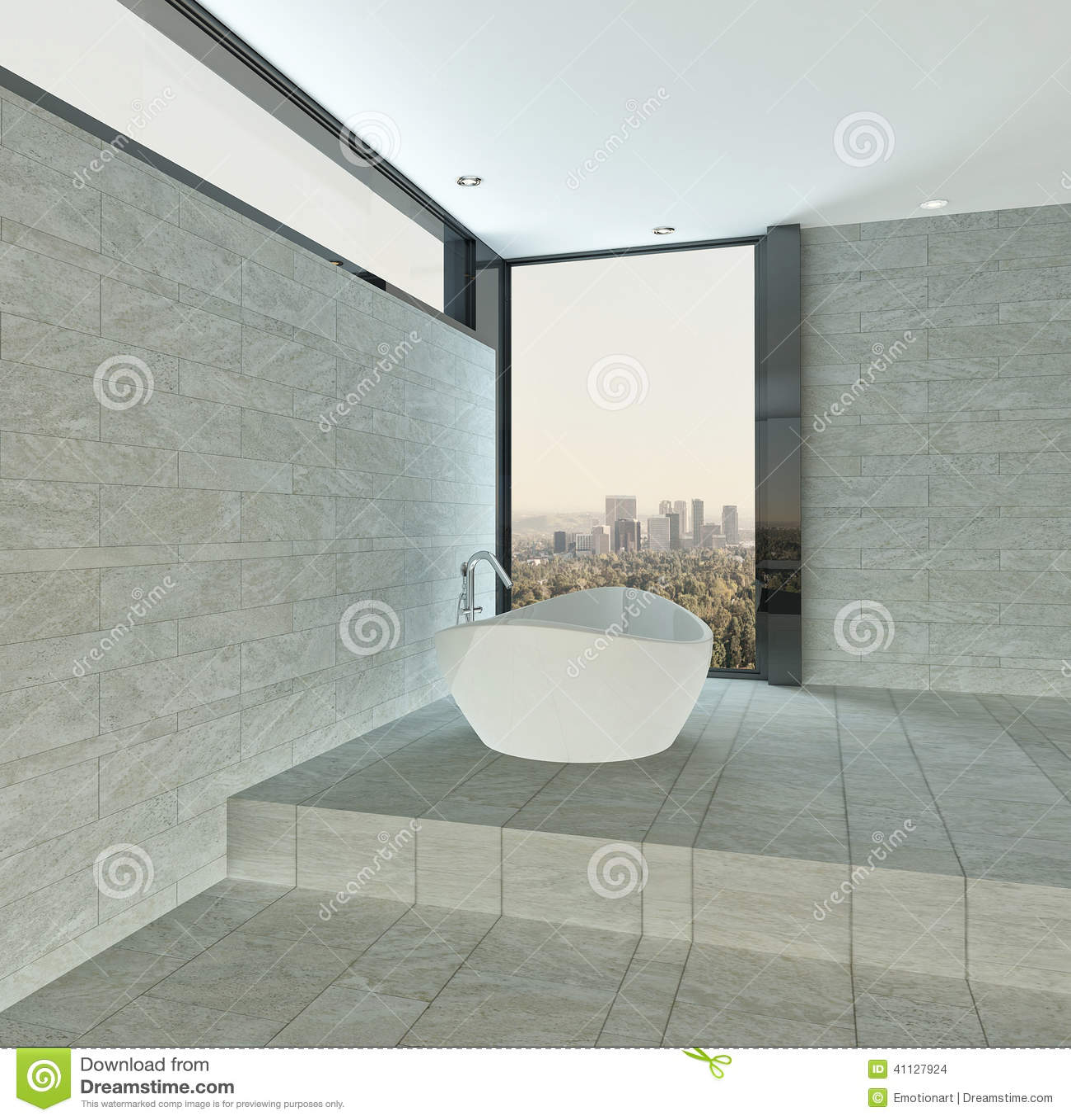 interno moderno del bagno con la parete di pietra ed il pavimento ... - Bagni Piastrellati Moderni