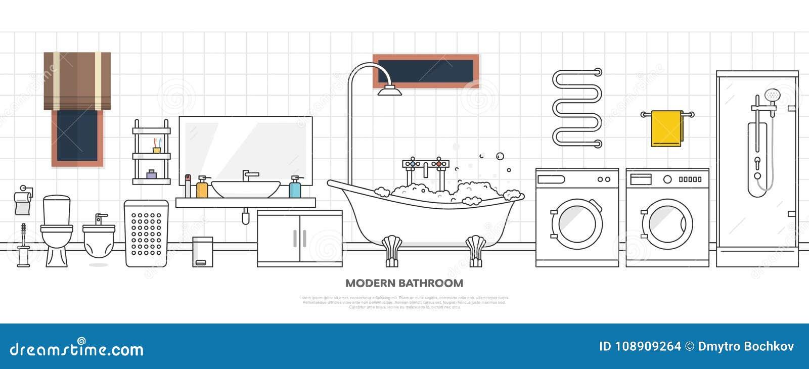 Interno Moderno Del Bagno Con Mobilia Nella Linea Stile Progetti Il ...