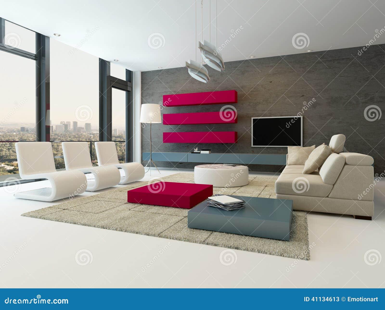 Interno moderno del salone con la parete di pietra e l for Salone con parete in pietra