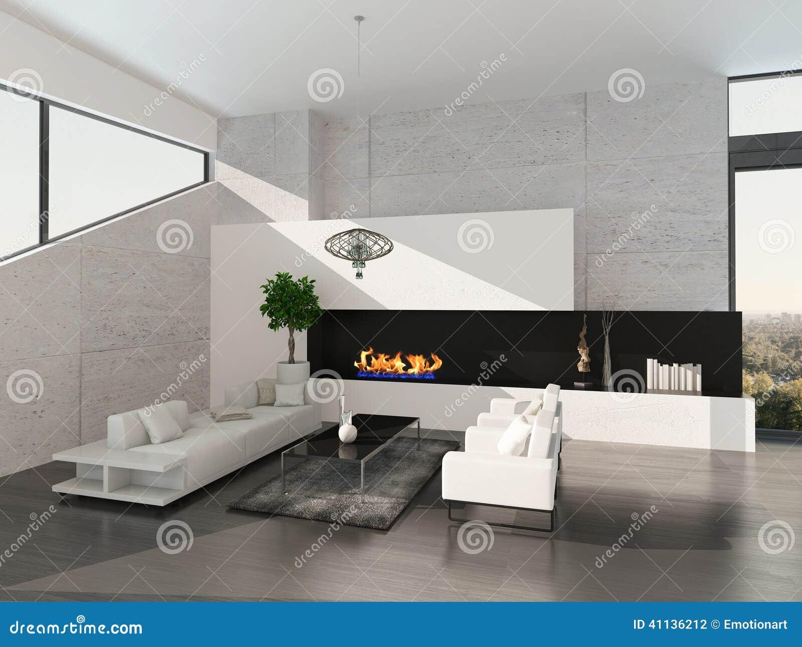 Camino In Pietra Moderno : Interno moderno del salone con la parete di pietra ed il camino
