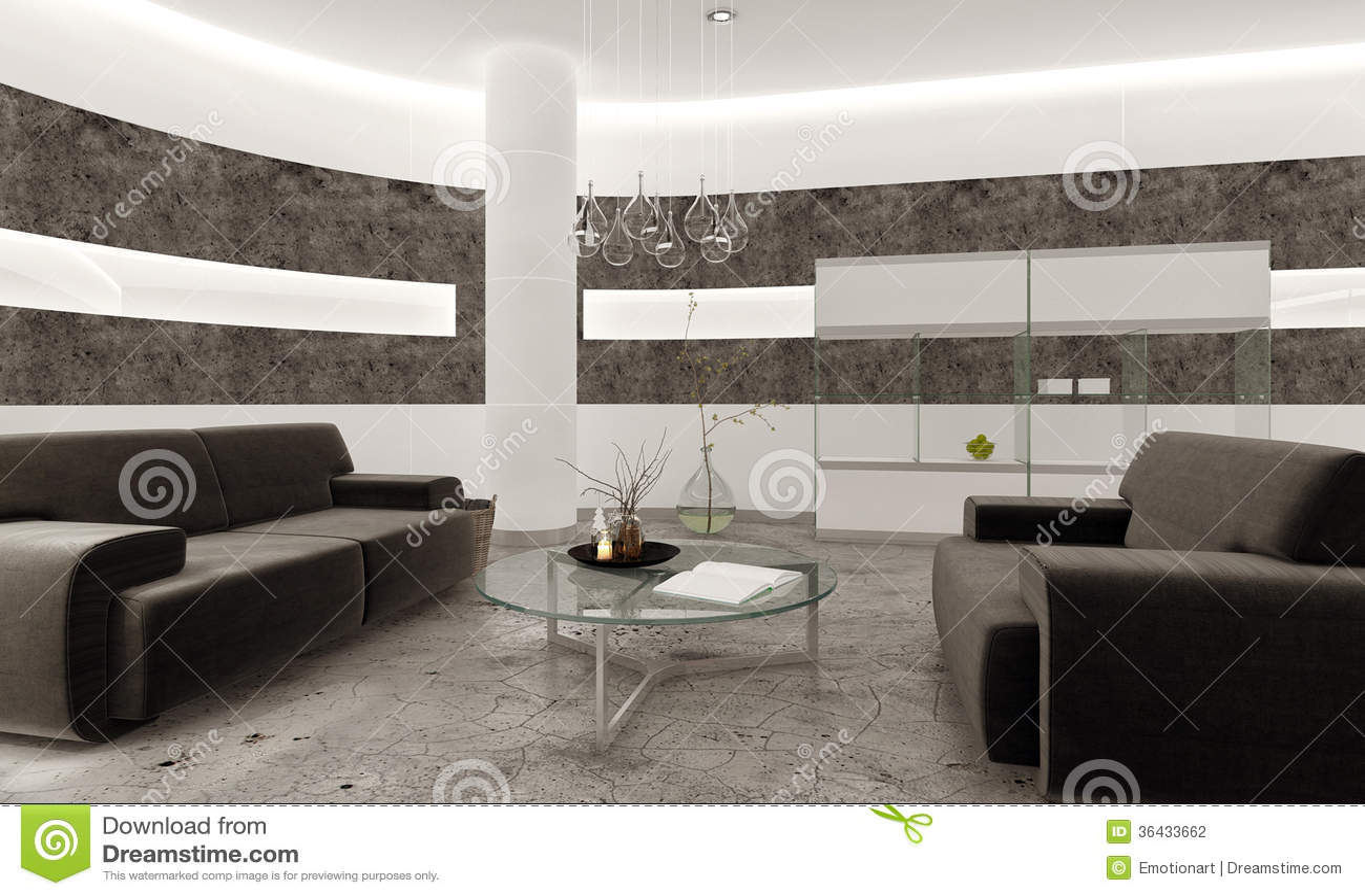 Interno moderno del salone con la parete di pietra nera ...