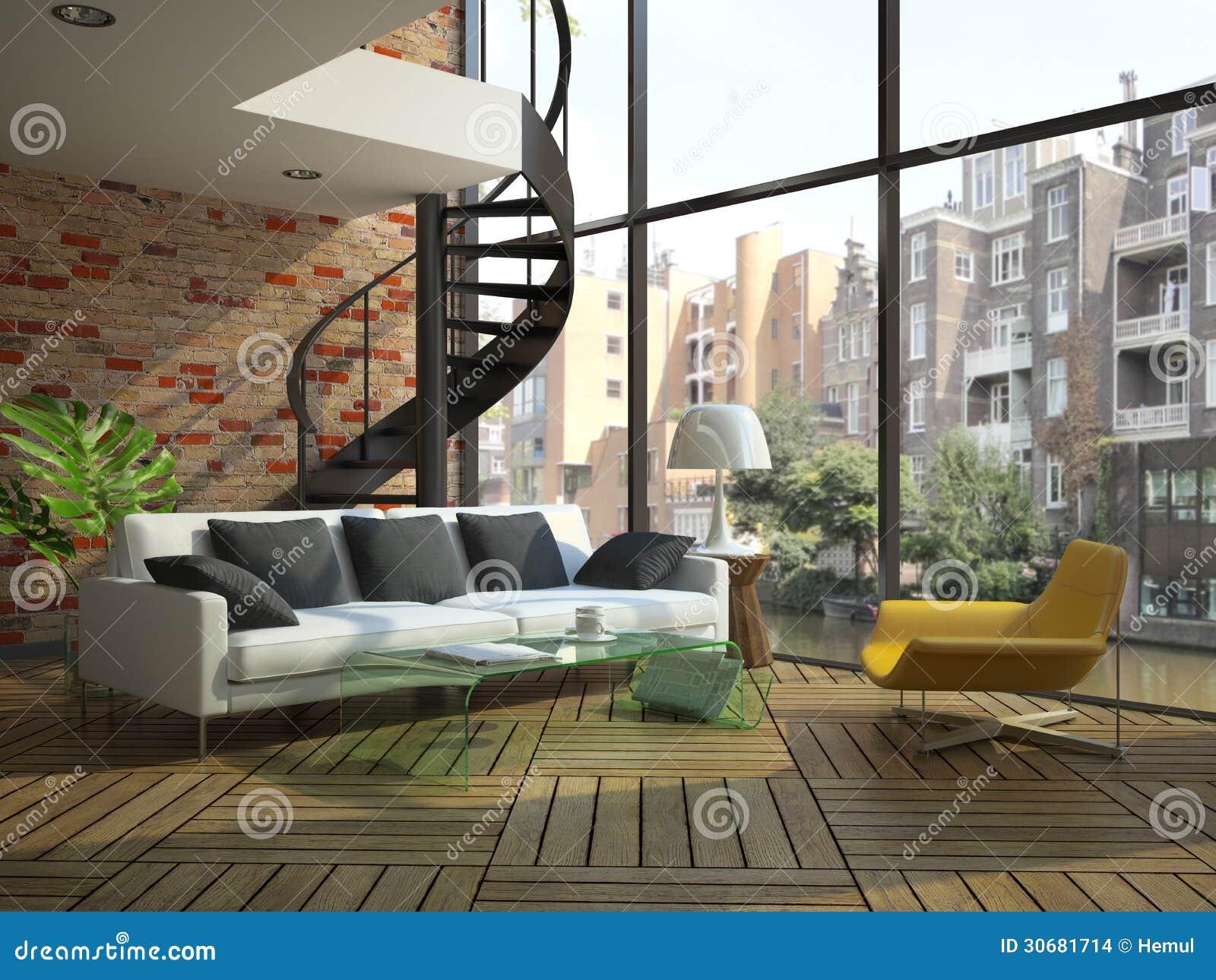 Interno moderno del sottotetto con la parte del secondo for Disegni del mazzo del secondo piano