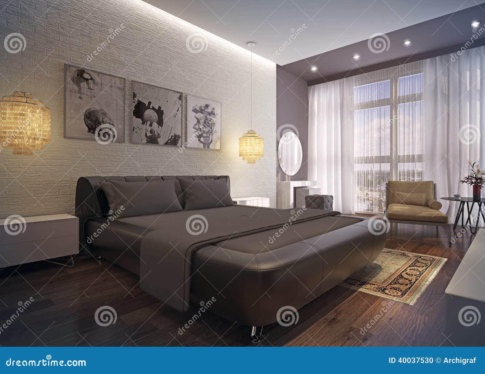 Interno moderno della camera da letto illustrazione di - Descrizione della camera da letto ...