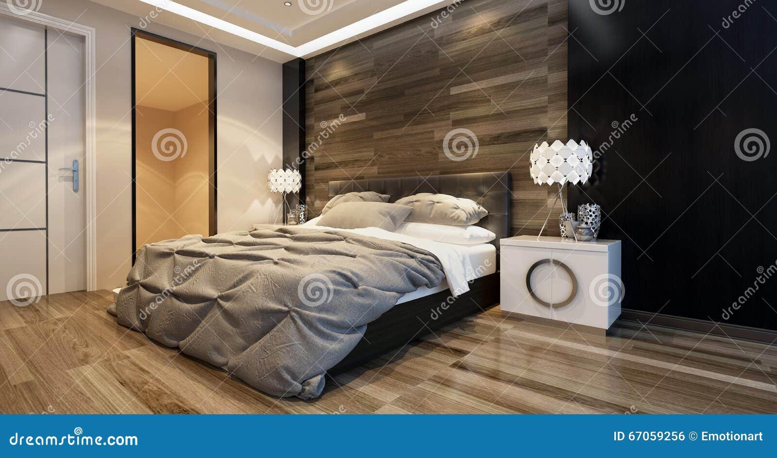 Interno moderno della camera da letto con illuminazione