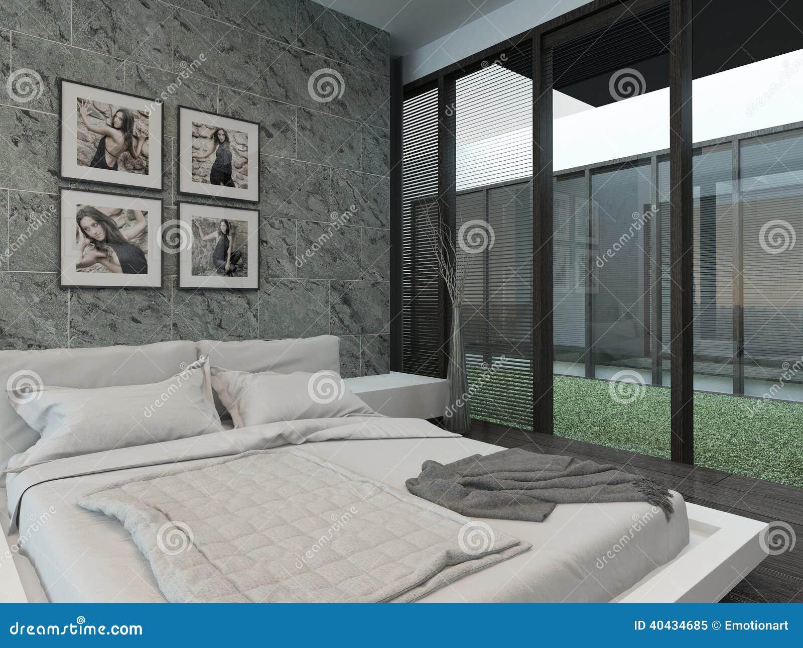 Interno moderno della camera da letto con la parete di pietra illustrazione di stock - Bagiu per camera da letto ...