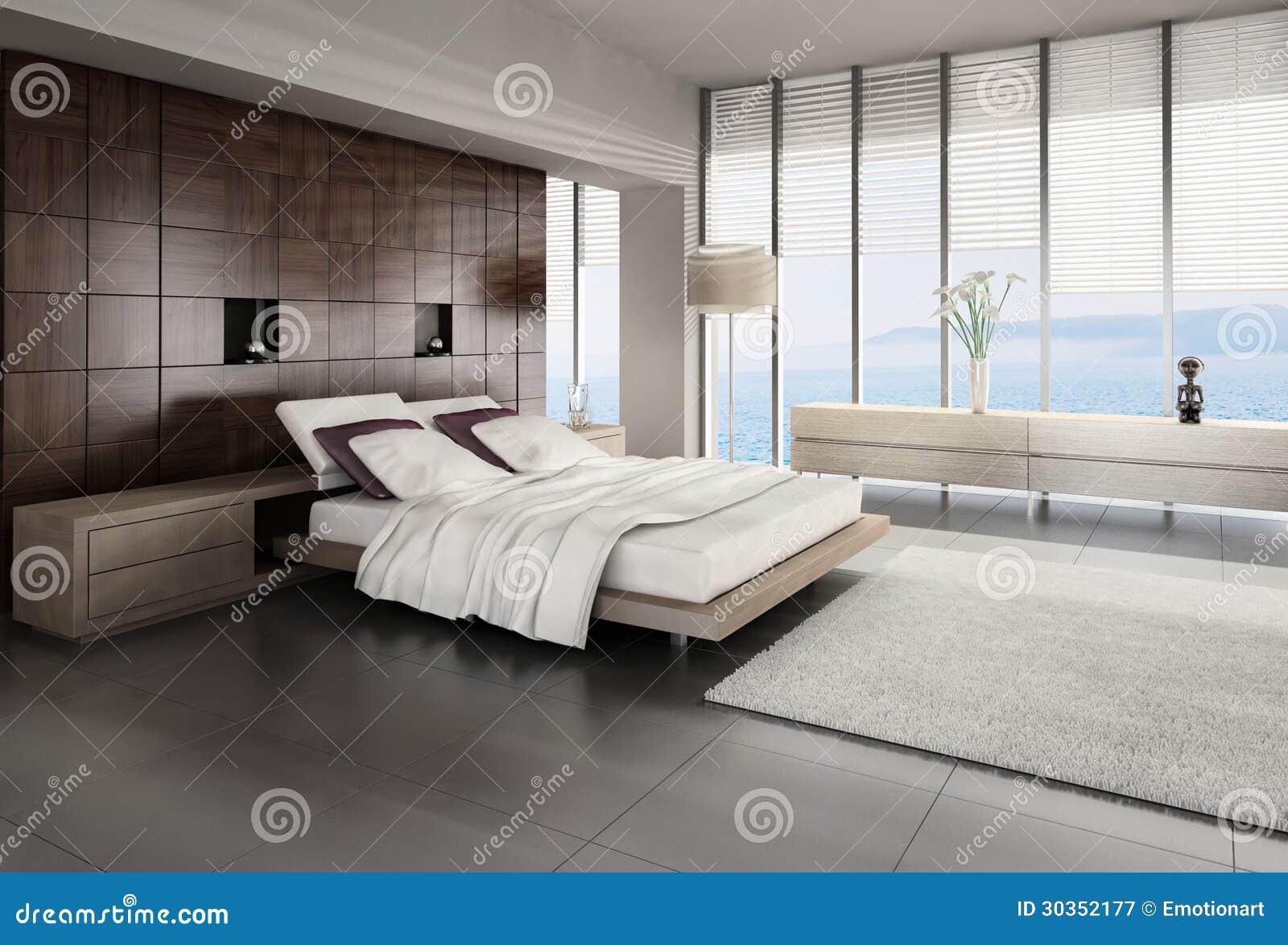Interno moderno della camera da letto con la vista di - Camera letto mare ...