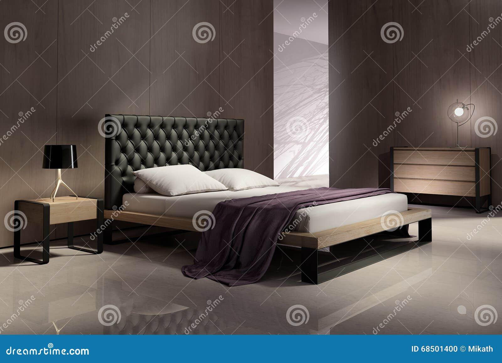 Interno moderno della camera da letto con le pareti di legno
