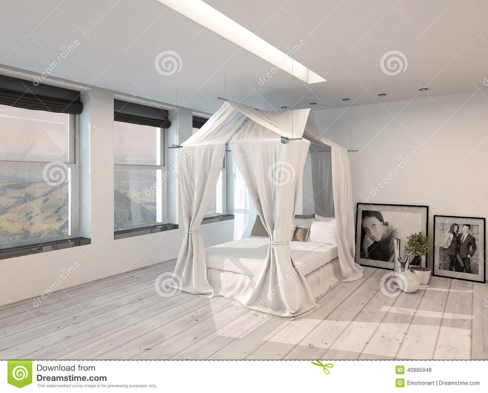 Interno moderno della camera da letto con un letto a - Camera da letto con parquet ...