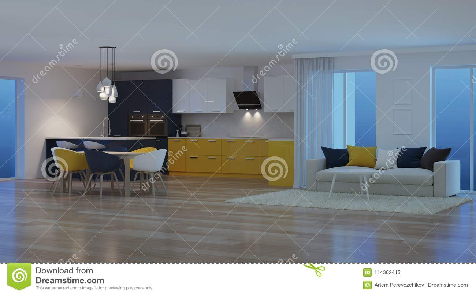 Interno moderno della casa con la cucina gialla notte illuminazione
