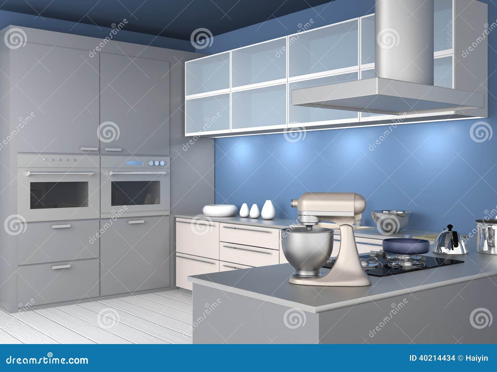 Interno Moderno Della Cucina Con La Carta Da Parati Blu-chiaro ...