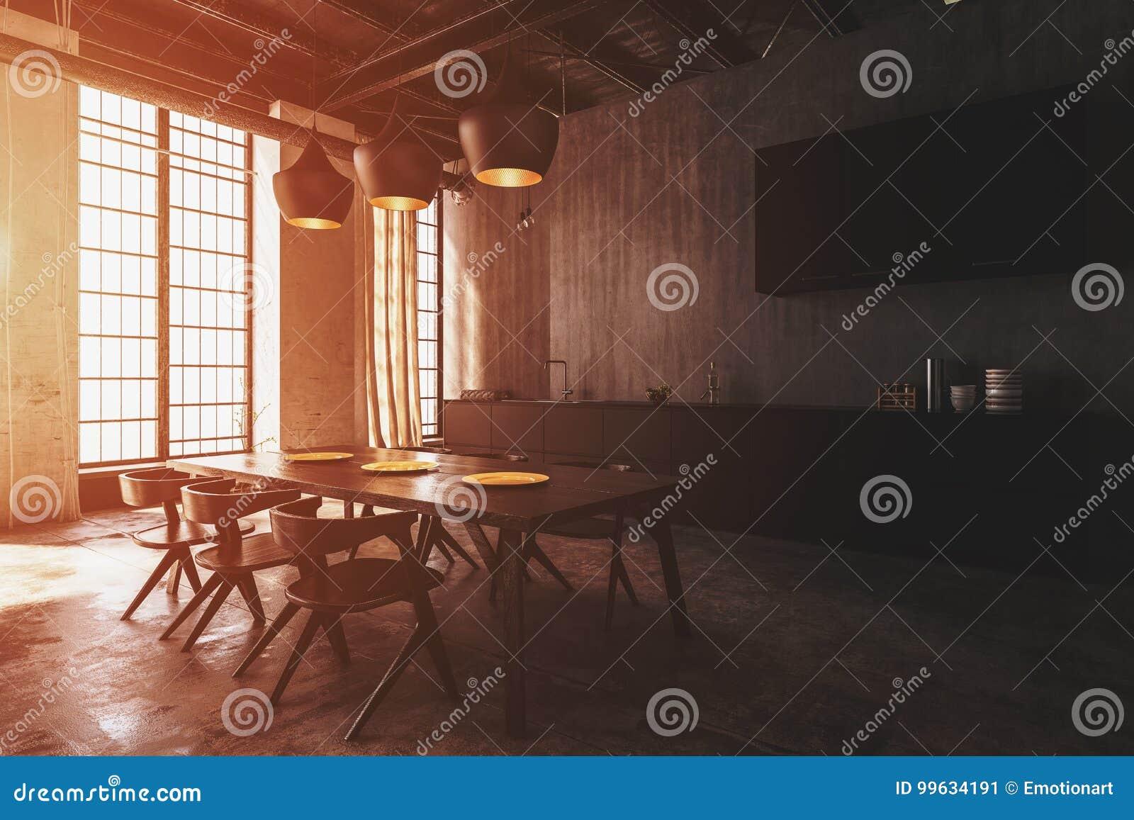 Plafoniere Con Legno : Interno moderno della sala da pranzo con le plafoniere